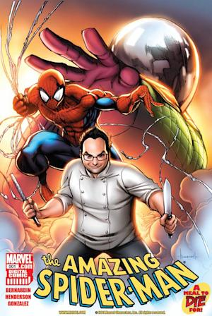 "In this comic book image released by Marvel, celebrity chef Eli Kirshtein from Bravo's popular ""Top Chef,"" is shown with Spider-Man on the cover of ""The Amazing Spider-Man: A Meal To Die For,"" now available exclusively on the Marvel Comics App and Marvel Digital Comics Unlimited. (AP Photo/Marvel)"