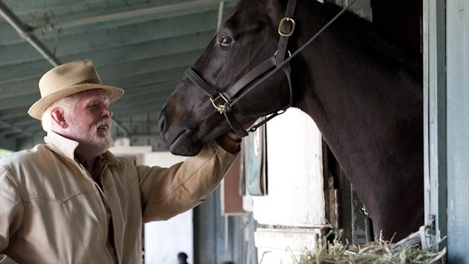 """In this undated image provided by HBO, Nick Nolte appears in a scene from the HBO original series """"Luck."""" The sport of horse racing is determined to endure the inevitable deaths of its injury-prone animals. But Hollywood has proved it lacks the stomach for it. The HBO TV channel ended the racing series """"Luck"""" after three horses used in the realistic production were injured and euthanized over a period stretching from 2010 to last week. (AP Photo/HBO, Gusmano Cesaretti)"""