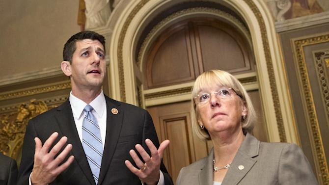 FILE - In this Oct. 17, 2013, file photo, House Budget Committee Chairman Rep. Paul Ryan, left, R-Wis., accompanied by Senate Budget Committee Chair Sen. Patty Murray, D-Wash., speaks on Capitol Hill in Washington where they outlined their approach to tackling the nation's debt problems. Since the end of World War II, more than a dozen high-profile bipartisan panels have been convened to tackle the nation's thorniest fiscal problems. But seldom have their recommendations spurred congressional action. Their ambitious, high-octane reports and recommendations are mostly still gathering dust on government shelves. Right now, congressional negotiators are grappling with a way to head off another looming government shutdown and debt ceiling crisis that could strike early next year. The 29-member bipartisan panel faces a Dec. 13 deadline and daunting odds.(AP Photo/ Scott Applewhite, File)