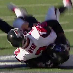 Atlanta Falcons quarterback Matt Ryan sacked by Baltimore Ravens linebacker Terrell Suggs for a safety