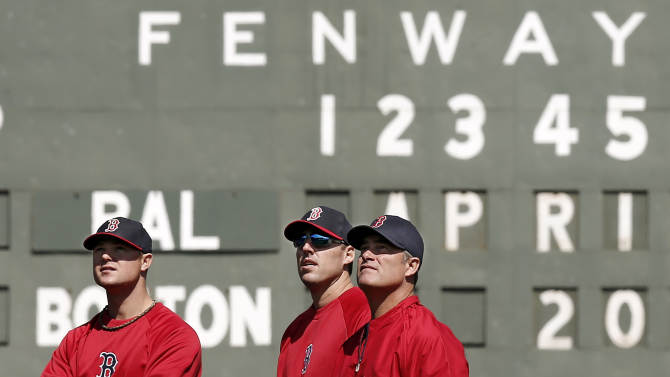 Boston Red Sox manager John Farrell, right, watches batting practice with pitchers John Lackey, center, and Jon Lester prior to their baseball game against the Baltimore Orioles at Fenway Park in Boston Monday, April 8, 2013. (AP Photo/Winslow Townson)