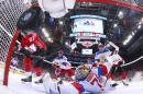 Team Canada's Sidney Crosby (87) scores on Team Russia's goalie Sergei Bobrovsky (72) during the first period of a World Cup of Hockey semifinal game, Saturday, Sept. 24, 2016 in Toronto. (AP Photo/Bruce Bennett, Pool)
