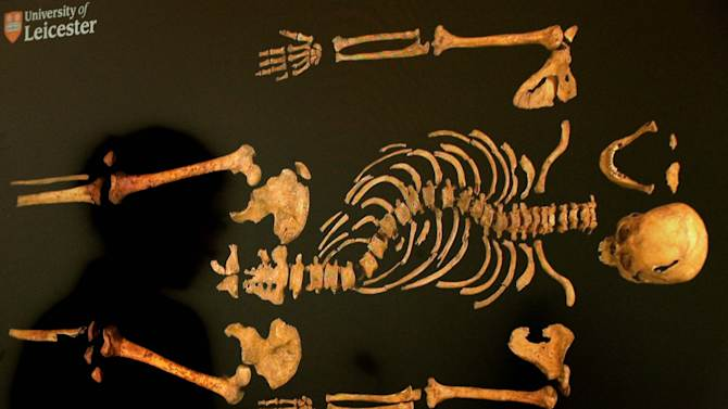 FILE - In this file photo dated April 2, 2013 shows a of a view of the skeleton of England's King Richard III . A British High Court judge on Friday Aug. 16, 2013 granted a group of Richard's relatives the right to challenge plans to rebury the 15th-century monarch in the city of Leicester, where his remains were found last year. Judge Charles Haddon-Cave said the Plantagenet Alliance could take action against the government and the University of Leicester. A hearing is due later this year. The government has given Leicester Cathedral a license to rebury the king, but the relatives' group wants him buried in the northern England city of York, claiming it was the king's wish. Richard was killed in battle in 1485. His skeleton was found last year under a Leicester parking lot.(AP Photo/Rui Vieira/PA, File) UNITED KINGDOM OUT