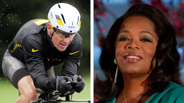 FILE - This combination image made of file photos shows Lance Armstrong, left, on Oct. 7, 2012, and Oprah Winfrey, right, on March 9, 2012. Armstrong plans to admit to doping throughout his career during an upcoming interview with Oprah Winfrey, USA Today reported late Friday, Jan. 11, 2013. (AP Photos/File)