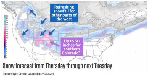 Powder Alert: Major Snowstorm Will Bring 3-4 Feet to Colorado This Weekend