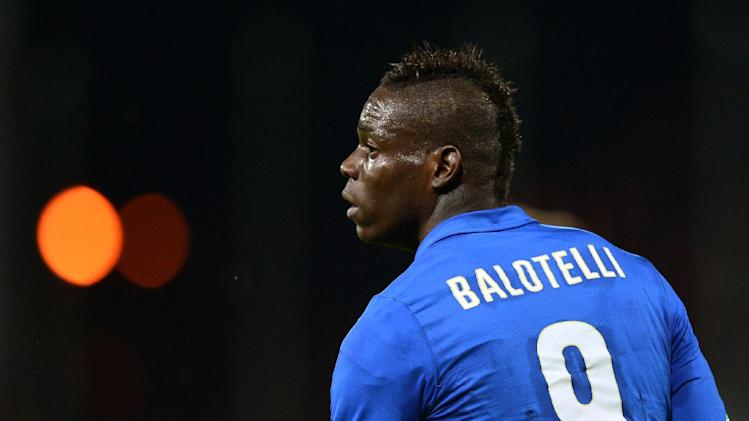 In this picture taken on June 4, 2014, Italy's forward Mario Balotelli looks on during the friendly football match against Luxembourg at the Renato Curi stadium in Perugia