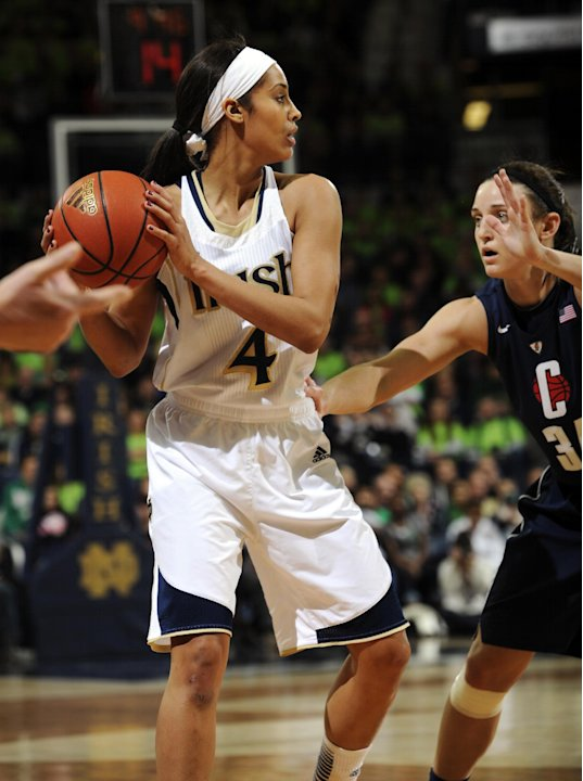 Notre Dame guard Skylar Diggins, left, looks to pass around Connecticut guard Kelly Faris during the first half of an NCAA college basketball game, Monday, March 4, 2013, in South Bend, Ind. (AP Photo