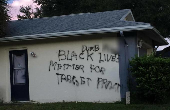 "Racist Serial Vandal Spray-Paints ""Black Lives Matter for Target Practice"" on Florida Home of Iraq Veteran"