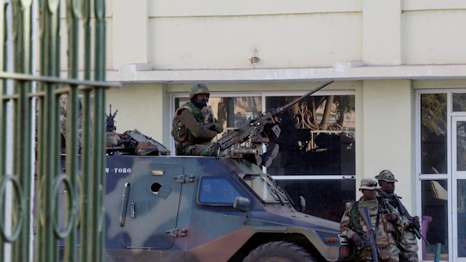 Members of the regional ECOWAS force keep guard at Presidence palace in Banjul,