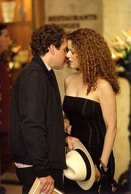 "When Cage (Peter MacNicol, L) and Fish (Greg Germann) go to Los Angeles for some fun in the sun, Cage befriends Cassandra (guest star Bernadette Peters, R), a woman with legal problems on ""The Getaway"" epsiode of Ally McBeal Ally McBeal"