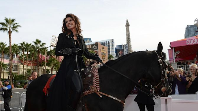 Las Vegas Strip Closes As Horse Stampede Welcomes Shania Twain's Arrival To The Colosseum At Caesars Palace