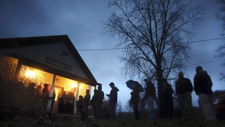 Voters wait for the polling station to open to cast their ballots on Election Day, Tuesday, Nov. 6, 2012, outside the May Town Hall in May Township, Minn. (AP Photo/The Star Tribune, Jim Gehrz)  MANDATORY CREDIT; ST. PAUL PIONEER PRESS OUT; MAGS OUT; TWIN CITIES TV OUT