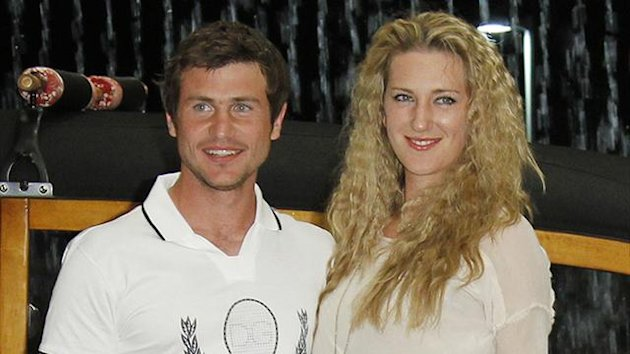 Victoria Azarenka (R) of Belarus and her boyfriend Sergei Bubka Jr. of Ukraine (Reuters)