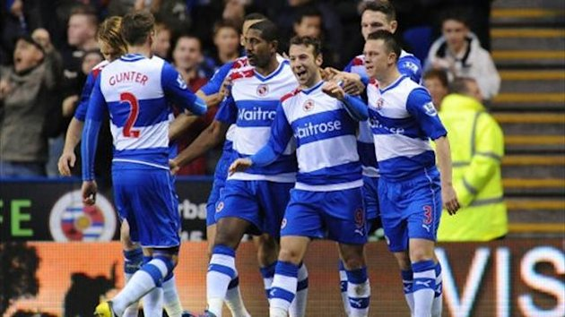 Reading's Adam Le Fondre celebrates his goal (PA)