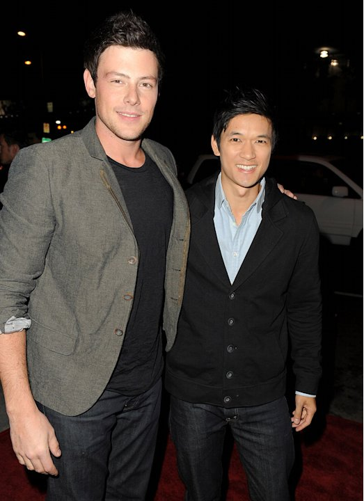 Cory Monteith and Harry Shum Jr. arrive at the premiere of FX's &quot;American Horror Story&quot; at the ArcLight Cinemas Cinerama Dome on October 3, 2011 in Hollywood, California. 