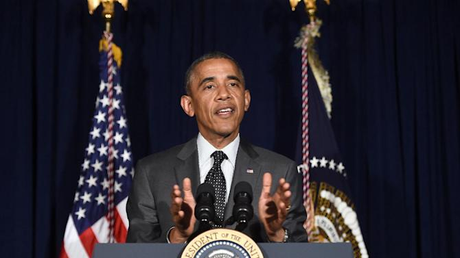US President Barack Obama delivers a statement on immigration following his meeting with local elected officials and faith leaders on July 9, 2014 in Dallas, Texas