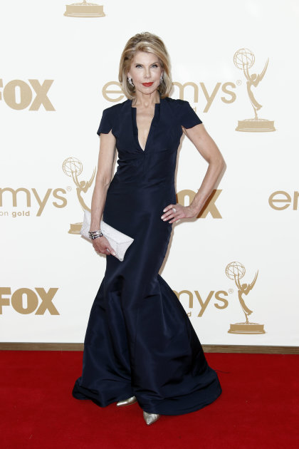 Christine Baranski arrives at the 63rd Primetime Emmy Awards on Sunday, Sept. 18, 2011 in Los Angeles. (AP Photo/Matt Sayles)