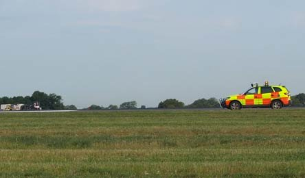 A special bird-scaring 4x4 vehicle chases after the flamingo on Manchester Airport's second runway