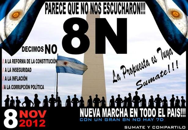 los afiches que convocan al cacerolazo del 8N