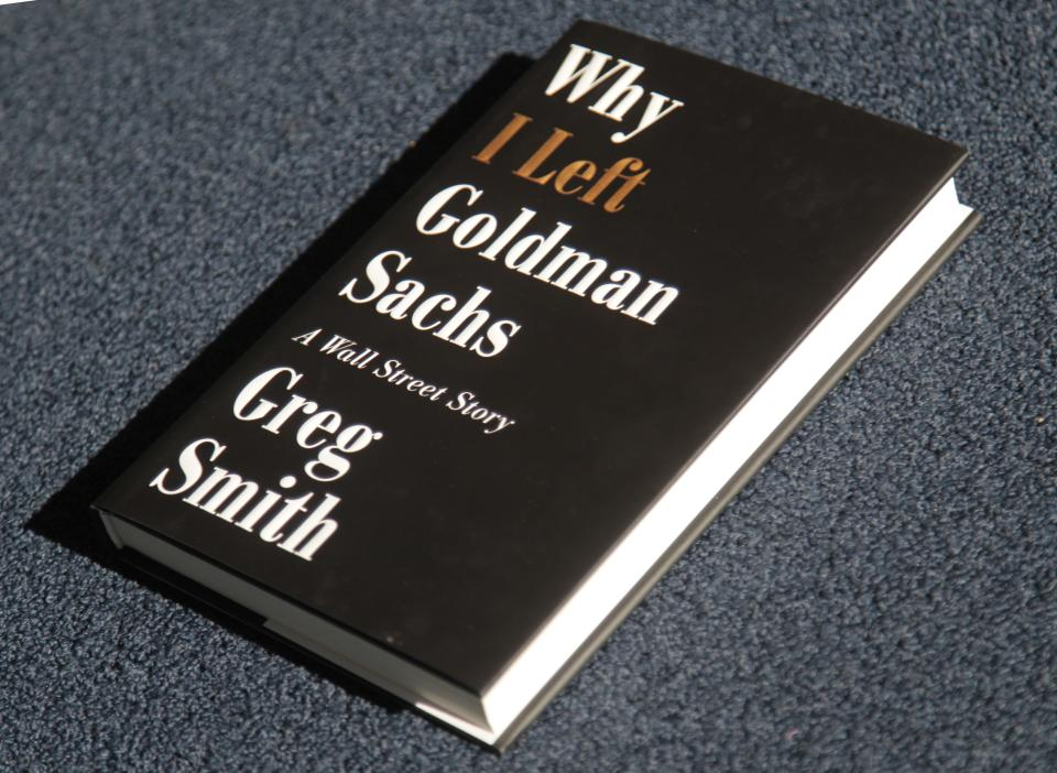 "Greg Smith's new book ""Why I Left Goldman Sachs, is photographed Monday, Oct. 22, 2012, in New York. Smith was a vice president at Goldman Sachs until March when he announced his departure from the investment bank with a blistering editorial in The New York Times. (AP Photo/Bebeto Matthews)"