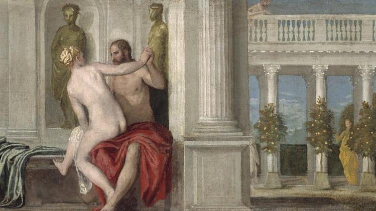 "This undated image released by Ringling Museum shows Paolo Veronese's ""Jupiter and a Nude."" Veronese captured 16th century Venice in all of its glory: rich people in sumptuous clothing, stunning architecture and vibrant colors.  More than 70 of his works are on display at the John and Mable Ringling Museum of Art in Sarasota, Fla. The special exhibit  runs through April 14, 2013.  (AP Photo/Ringling Museum)"