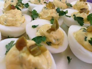 Latin deviled eggs with cilantro and jalapeno