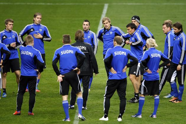 Finland's Pukki and teammates attend a training session at the Stade de France stadium in Saint-Denis