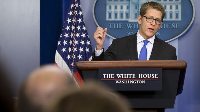 White House press secretary Jay Carney answers questions about Syria and chemical weapons during his daily news briefing at the White House in Washington, Tuesday, Aug. 27, 2013. The U.S. was expected to make public a more formal determination of chemical weapons use on Tuesday, however Carney stated that the president did not have a decision made about the response to announce at this time. (AP Photo/Jacquelyn Martin)