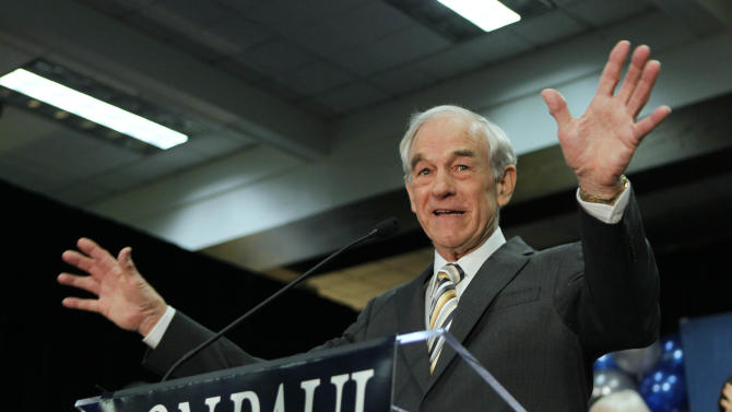 FILE - In this Feb. 11, 2012 file photo, Republican presidential candidate Rep. Ron Paul, R-Texas, speaks to his supporters following his loss in the Maine caucus to Mitt Romney, in Portland, Maine. With Mitt Romney's nomination all but decided, Ron Paul supporters wrested control of the Maine Republican Convention and elected a majority slate supporting the Texas congressman to the GOP national convention, party officials said as the two-day convention neared its end Sunday, May 6, 2012. The results gave the Texas congressman a late state victory. (AP Photo/Robert F. Bukaty, File)