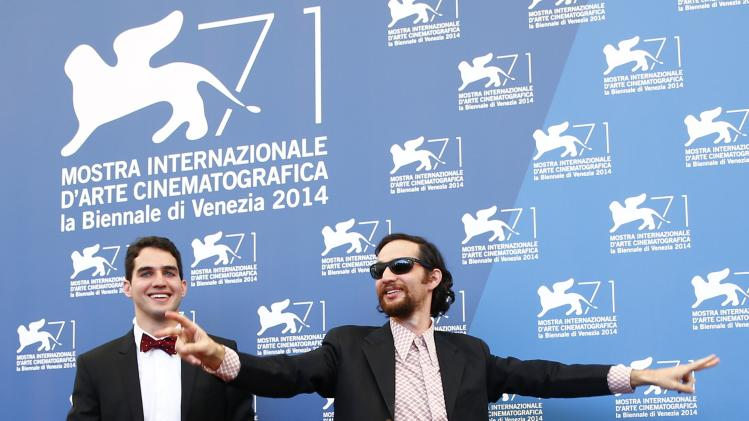 """Directors Josh and Benny Safdie pose during the photo call for the movie """"Heaven Knows What"""" at the 71st Venice Film Festival"""