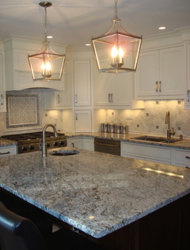Our dream kitchen featuring the perfect granite for us, Crema Azul.