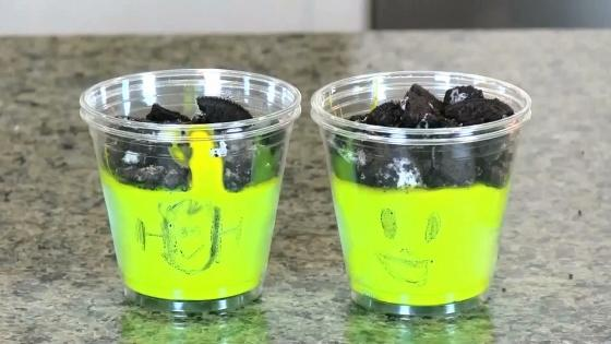 "Kid Friendly ""Frankenstein"" Pudding Cups Recipe"