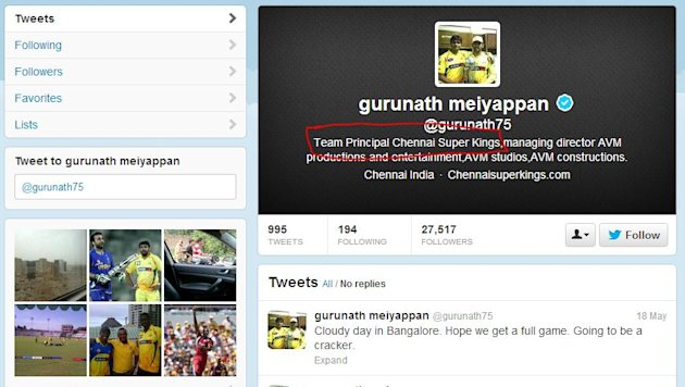 The deleted profile of Gurunath Meiyappan,CSK