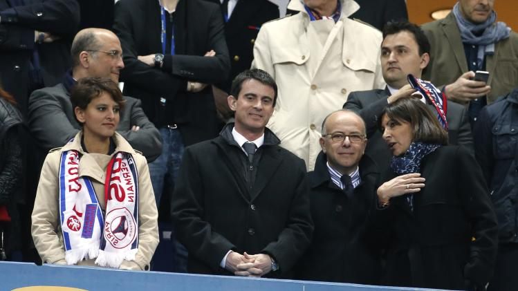 Vallaud-Belkacem, Valls, Cazeneuve and Hidalgo attend the French League Cup final soccer match at the Stade de France stadium in Saint-Denis, near Paris