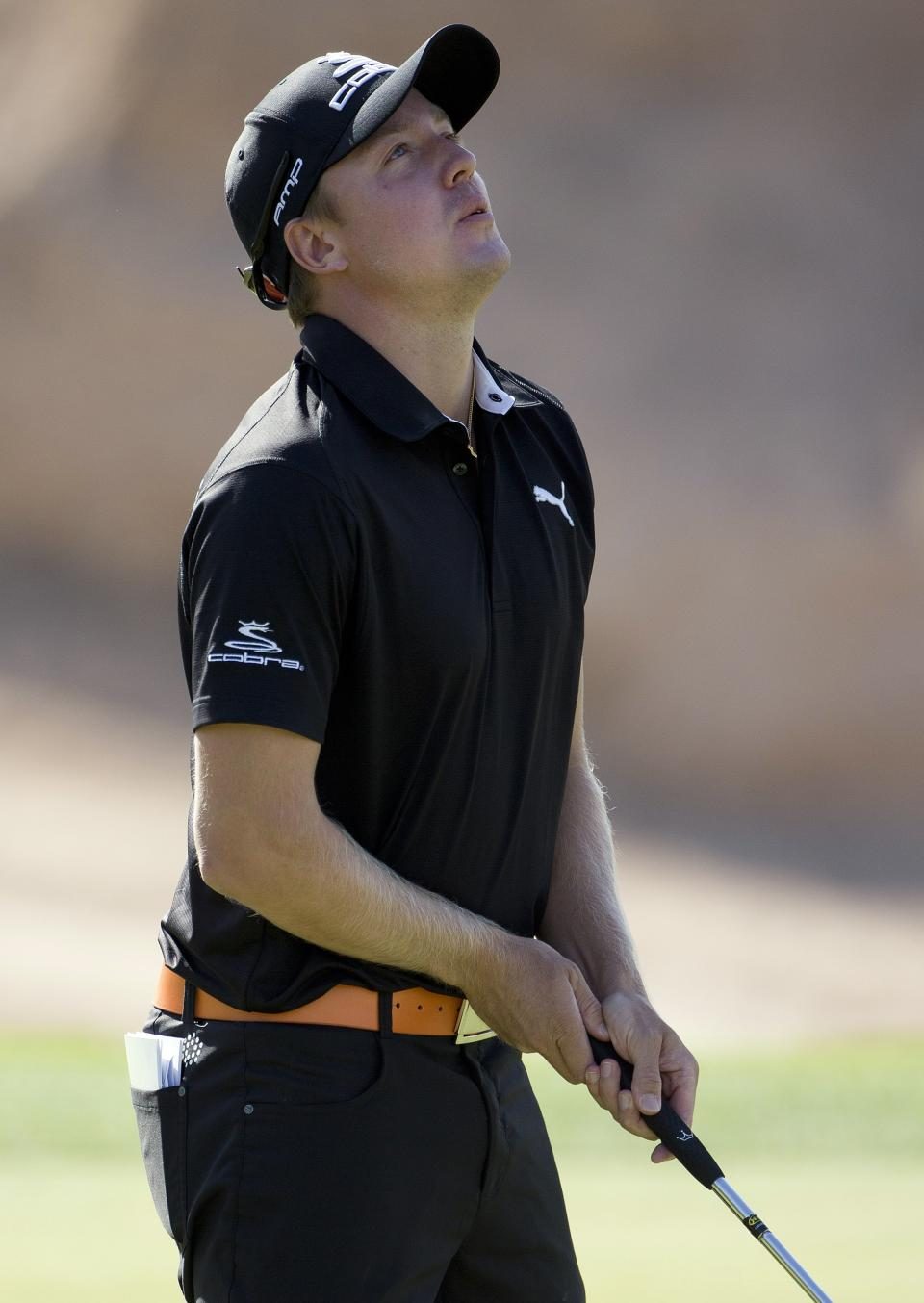 Jonas Blixt of Sweden, reacts after missing a putt for birdie on the eighth hole during the second round of the Justin Timberlake Shriners Hospitals for Children Open golf tournament, Friday, Oct. 5, 2012, in Las Vegas. (AP Photo/Julie Jacobson)