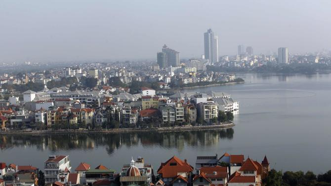 An aerial view shows West Lake and its surroundings in Hanoi
