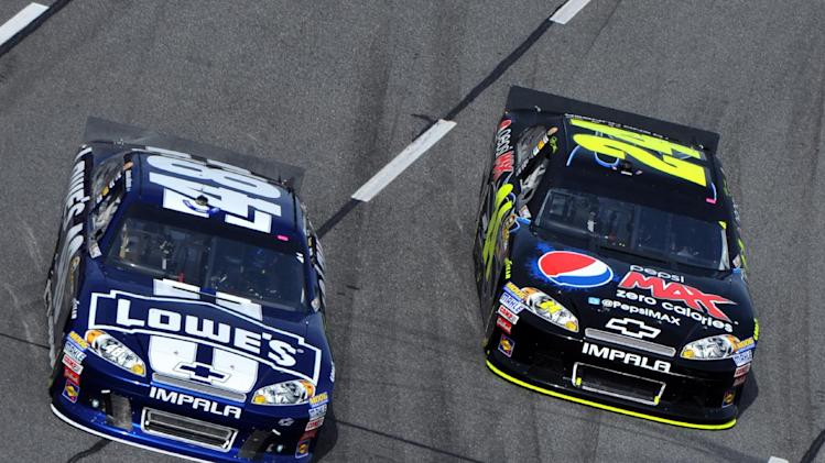 Jimmy Johnson, left, and Jeff Gordon race on turn two for the lead during NASCAR's Sprint Cup Series auto race at Martinsville Speedway, Sunday, Oct. 28, 2012, in Martinsville, Va. (AP Photo/Don Petersen)