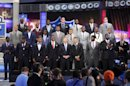 The top NFL football draft prospects pose for a group photo with Commissioner Roger Goodell, front row center, before the first round, Thursday, April 25, 2013, at Radio City Music Hall in New York. (AP Photo/Mary Altaffer)