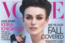 This cover image released by Vogue shows actress Keira Knightley on the cover of the October issue of