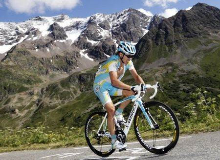 Astana rider Iglinskiy of Kazakhstan cycles up the Col du Galibier during the 18th stage from Pinerolo to Galibier Serre-Chevalier at the Tour de France