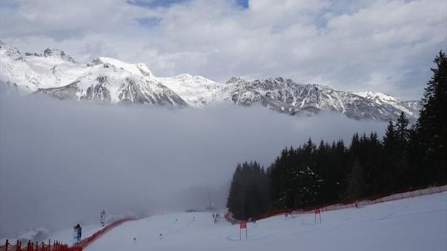 Fog covers the course before the women's Super G race at the World Alpine Skiing Championships in Schladming (Reuters)