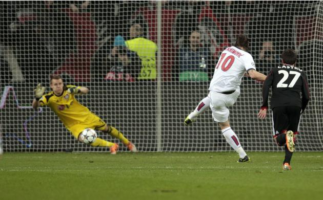 Paris St. Germain's Ibrahimovic scores a penalty against Bayer Leverkusen during their Champions League soccer match in Leverkusen