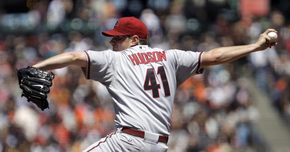 Arizona Diamondbacks' Daniel Hudson works against the San Francisco Giants during the sixth inning of a baseball game Thursday, May 12, 2011, in San Francisco. (AP Photo/Ben Margot)