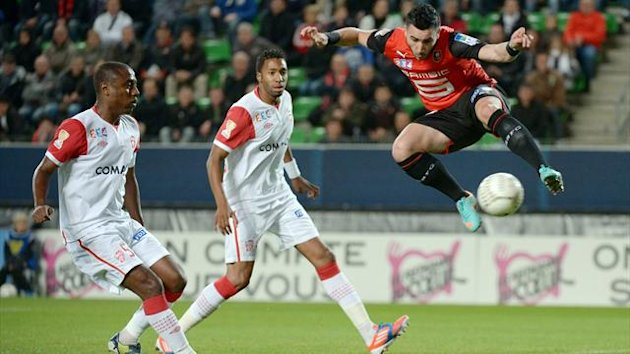 Rennes midfielder Romain Alessandrini scores against Nancy in the 2012/2013 Coupe de la Ligue last 32