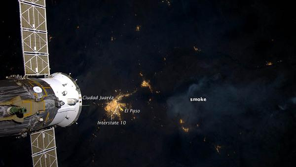 Astronaut Photo Shows Wildfire Smoke at Night