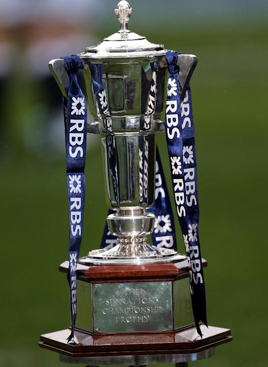 A general view of the Six Nations trophy, ahead of the Six Nations rugby union international match between Scotland and England at Murrayfield, Edinburgh, Scotland, Saturday Feb. 8, 2014