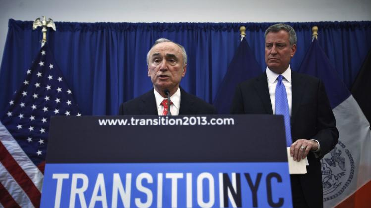 Bratton speaks to the media at a news conference in Brooklyn