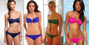 From left: J. Crew solid twist-front bandeau top, $44, bikini with detachable ties, $40; Forever 21 monochromatic drawstring top, $9.80, bottom, $8.80; Malia Mills top $135, lowrider bottom $125; Victoria's Secret twist bandeau top, $22, double-string bottom, $14.50.