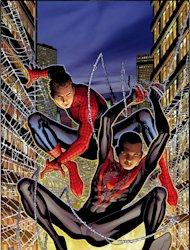 "This image provided by Marvel Comics shows Spider-Men Peter Parker, left, and his Ultimate Comics Universe counterpart Miles Morales. Brian Bendis on Wednesday, April 11, 2012 said the two heroes will meet in the Bendis-written, Sara Pichelli-drawn five-issue miniseries ""Spider-Men,"" the first time the two separate universes have crossed paths, as part of a celebration of Spider-Man's 50th anniversary. (AP Photo/Marvel Comics)"