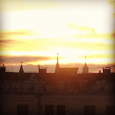Sunrise in Moscow, with Kremlin in the distance
